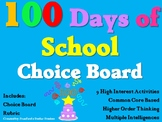 100 Days of School 100th Day Choice Board Activities Menu