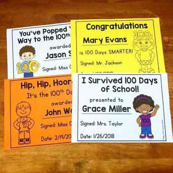 100th Day of School Awards - Editable Certificates