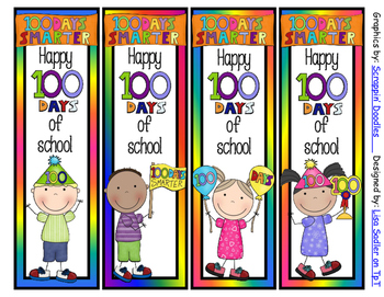 100 Days of School Bookmarks - 4 Designs -2 sayings to choose from