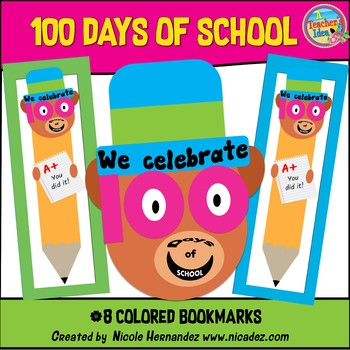 100 Days of School - Cute Bear Bookmarks