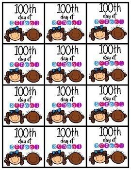100 Days of School Brag Tags