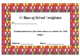 100 Days of School Certificate