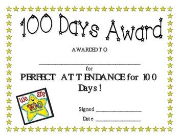 100 Days of School Certificate