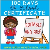 100 Days of School Certificate, PreK, Special Education, Autism