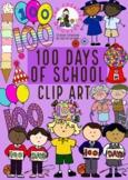 100 Days of School Clip Art - Kinder - Prep - Foundation + BONUS COLOURING SHEET