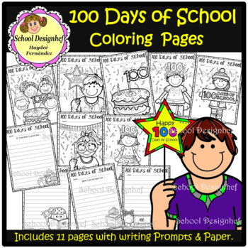 100 Days of School Coloring Pages & Writing Prompts / Papers (School Designhcf)
