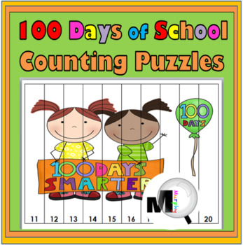 100th Day of School Counting Puzzle Activities - Numbers 1