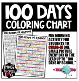 100 Days of School, Coloring Activity, Color One Picture Per Day, Back to School