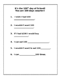 100 Days of School Fill in/Writing