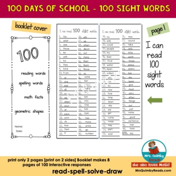 100 Days of School - Interactive Booklet and Printables