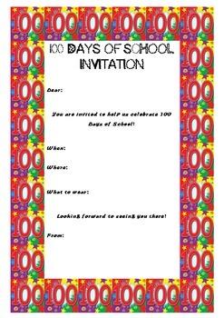 100 Days of School Invitation