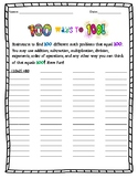 100 Days of School 100th Day Math Activity 100 WAYS to 100 Grade 4,5, 6, 7, 8