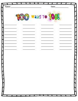 100 Days of School 100th Day Math Activity 100 WAYS to 100 Grade 4,5, 6, 7, 8