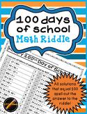 100 Days of School Math Riddle