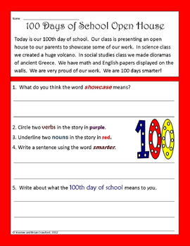 100th Day of School Math and Literacy Activities Third ...