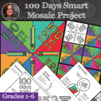 100 Days of School Mosaic - Interactive Coloring Sheets - 100 Days of School Art