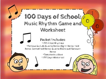 100 Days of School: Music Rhythm Game and Worksheet