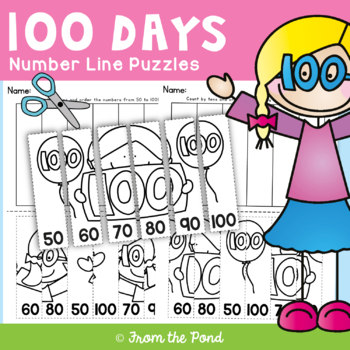 100 Days of School Number Line Puzzle Worksheets