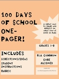 100 Days of School One Pager