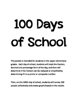 100 Days of School Packet