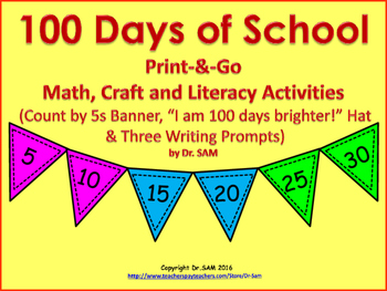 100 Days of School Print-&-Go Math, Craft, and Literacy Activities