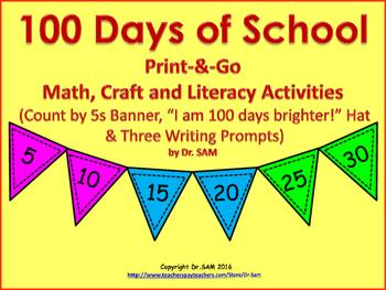 100 Days of School Print-&-Go Math, Craft, and Literacy Ac