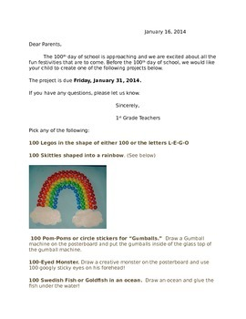 100 Days of School Project Letter