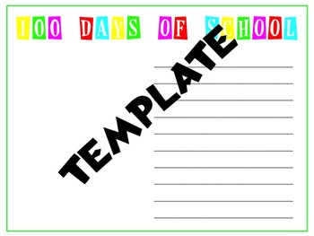 100 Days of School Recount Template