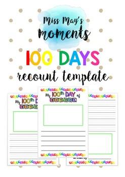 100 Days of School Recount template