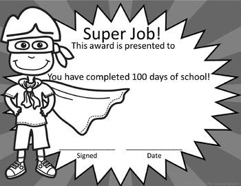 100th day of school - Super Hero Awards