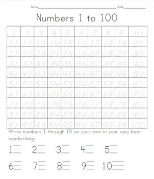 100 days of school tracing numbers 1 to 100 by whitney venkatachalam teachers pay teachers. Black Bedroom Furniture Sets. Home Design Ideas