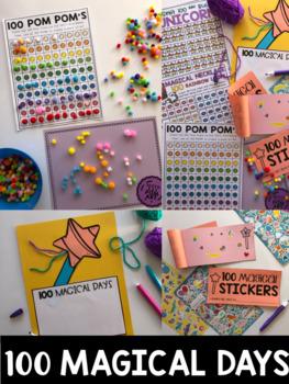 100 Days of School (Unicorn) Center Activities, Kindergarten