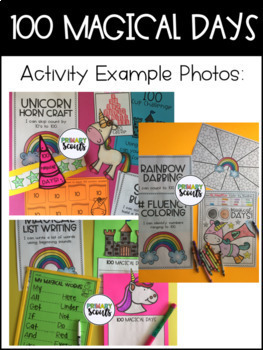 100 Days of School (Unicorn) Center Activities, Kindergarten