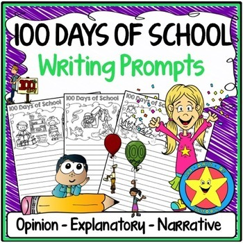 100th Day of School Writing Prompts {Narrative, Informativ