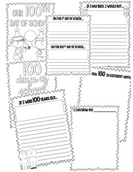 100 Days of School Writing Activities and Coloring Pages