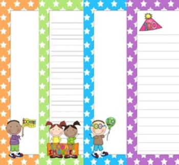 100 Days of School Writing Papers - 3 Styles - ( 7 1/2 x 10 )