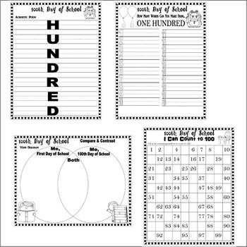 100 Days of School Writing Prompts Coloring Worksheets * 100th 12pgs Lined Paper