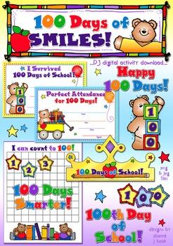 100 Days of Smiles Clip Art & Printables