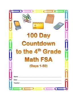 100 Day Countdown to the Math FSA - 4th Grade (Days 1-50)