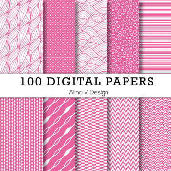 100 Digital Papers Scrapbook Papers, Background Papers Set 4