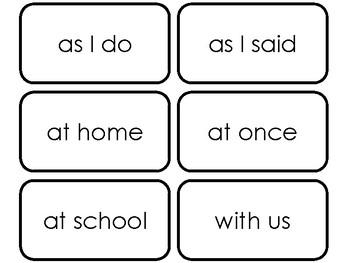 100 Dolch Phrase Sight Word Flaschards. Preschool-Third Grade Sight Words.
