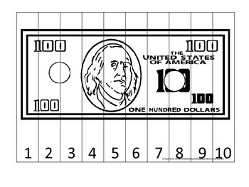 100 Dollar Bill 1-10 Number Sequence Puzzle. Financial education for preschool