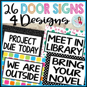 Door Signs for Classroom Management Middle & High School Includes Editable Signs