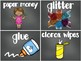 100+ EDITABLE Chalkboard Supply Labels with Pictures