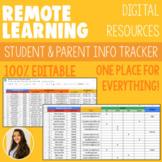 100% EDITABLE - Digital Tracker - Student Passwords & Parent Contact Info