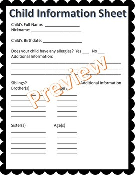 100% EDITABLE Parent/Child Information Sheet - All About My Child