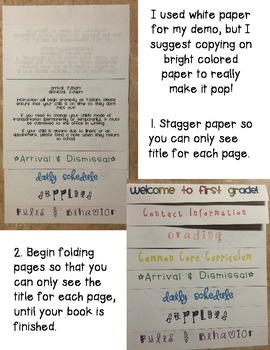 Editable Back-to-School Parent Handbook Flipbook - No Scissors or Glue Required!