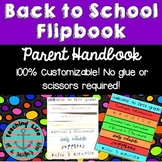Editable Back-to-School Parent Handbook Flipbook - No Scissors or Glue Required!