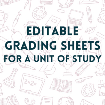 100% Editable Grading Sheets for student binders - view all grades in one place
