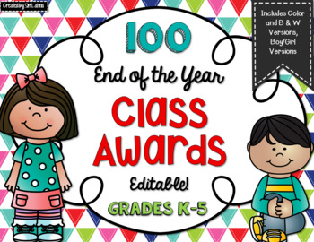 100 End of Year Awards, Editable, Color & Blacklines